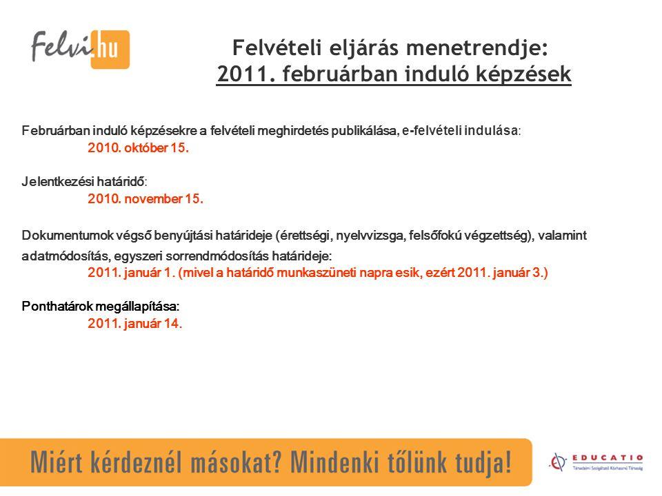 Felvételi eljárás menetrendje: 2011. februárban induló képzések Februárban induló képzésekre a felvételi meghirdetés publikálása, e-felvételi indulása