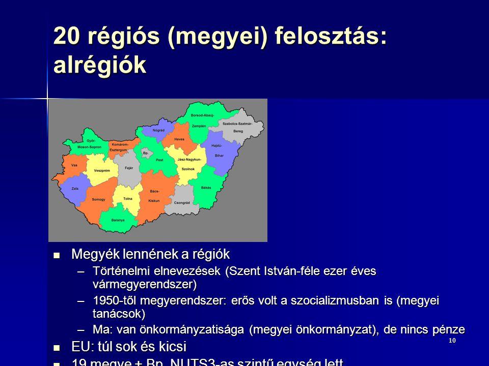 10 20 régiós (megyei) felosztás: alrégiók Megyék lennének a régiók Megyék lennének a régiók –Történelmi elnevezések (Szent István-féle ezer éves várme
