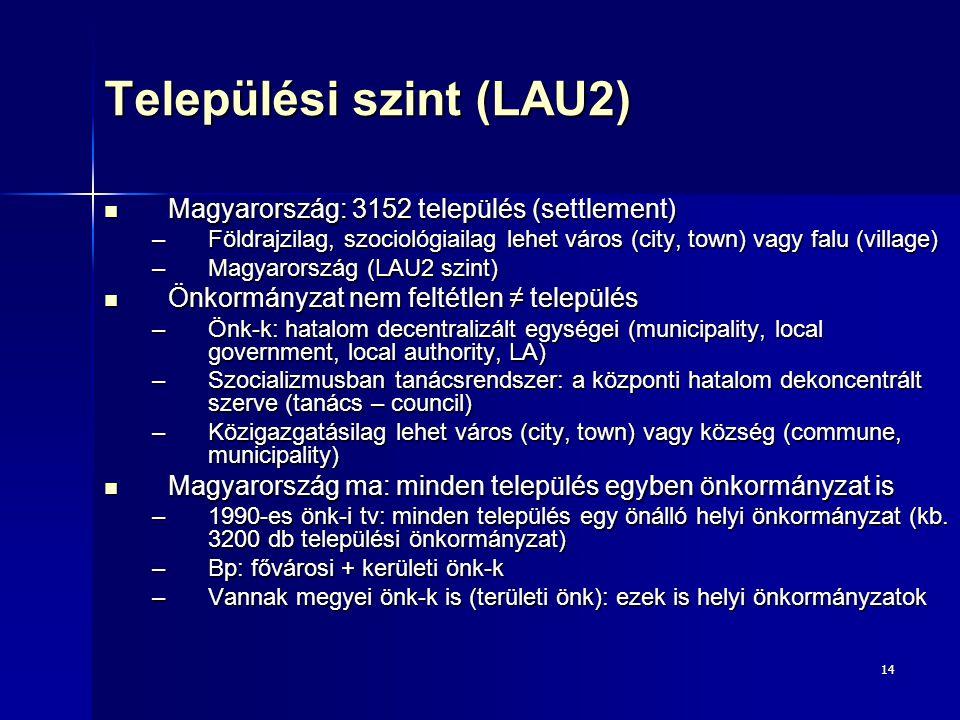 14 Települési szint (LAU2) Magyarország: 3152 település (settlement) Magyarország: 3152 település (settlement) –Földrajzilag, szociológiailag lehet vá