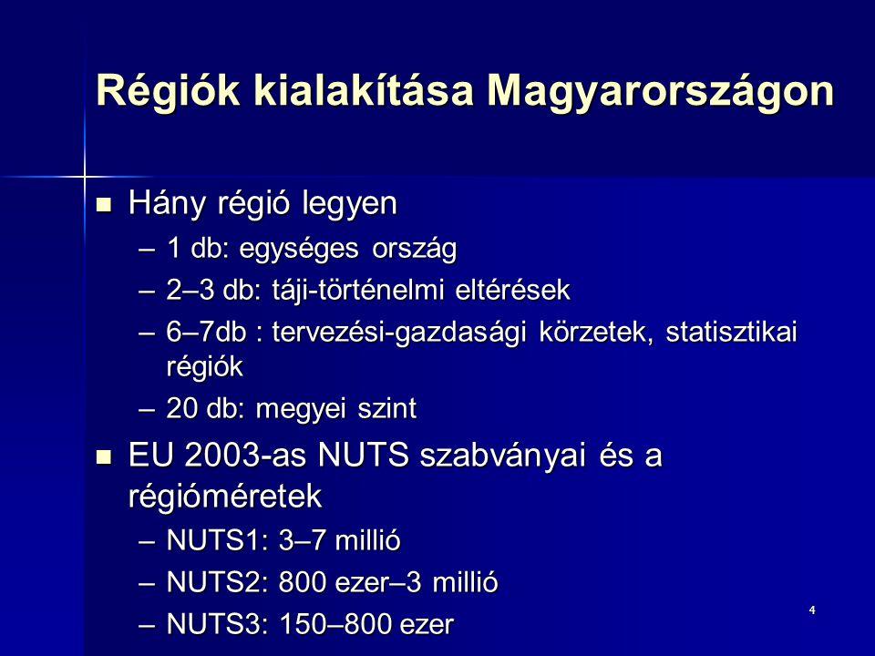4 Régiók kialakítása Magyarországon Hány régió legyen Hány régió legyen –1 db: egységes ország –2–3 db: táji-történelmi eltérések –6–7db : tervezési-g