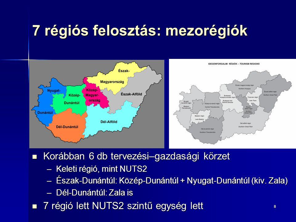 8 7 régiós felosztás: mezorégiók Korábban 6 db tervezési–gazdasági körzet Korábban 6 db tervezési–gazdasági körzet –Keleti régió, mint NUTS2 –Észak-Du