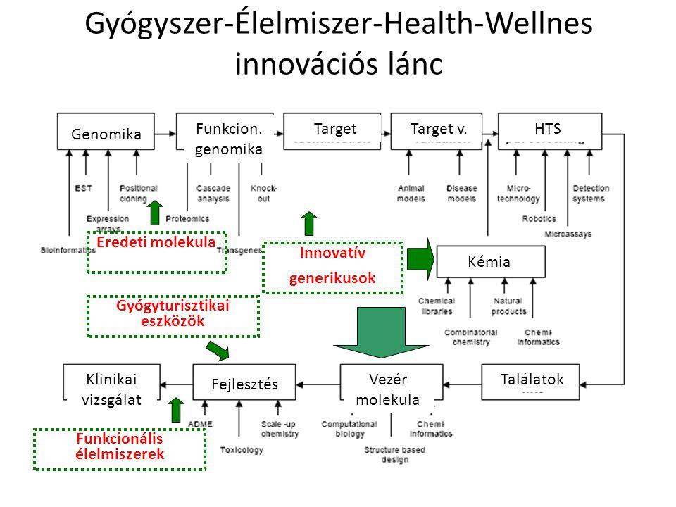 Gyógyszer-Élelmiszer-Health-Wellnes innovációs lánc Innovatív generikusok Genomika Funkcion. genomika Kémia Fejlesztés Vezér molekula Klinikai vizsgál