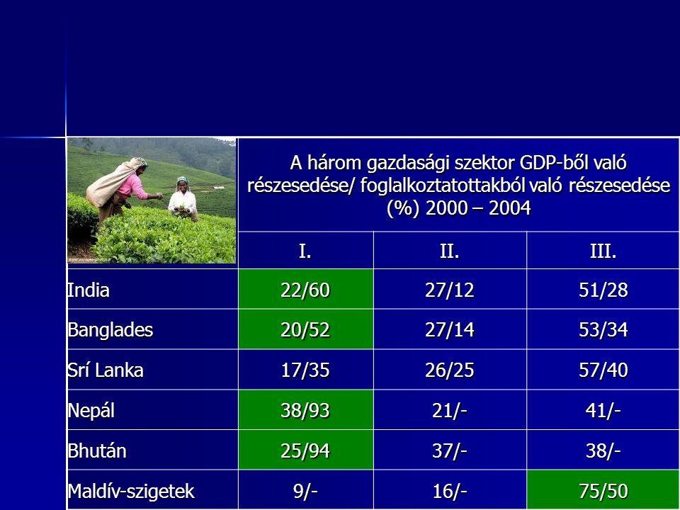 16 16 A három gazdasági szektor GDP-ből való részesedése/ foglalkoztatottakból való részesedése (%) 2000 – 2004 I.II.III. India22/6027/1251/28 Banglad