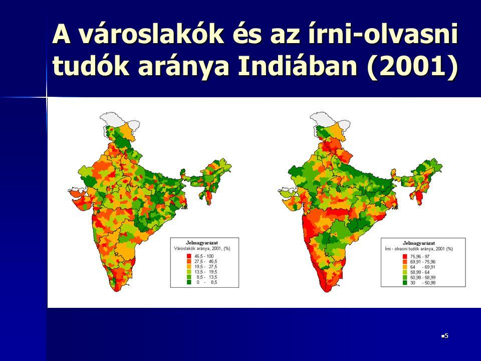 5 A városlakók és az írni-olvasni tudók aránya Indiában (2001)