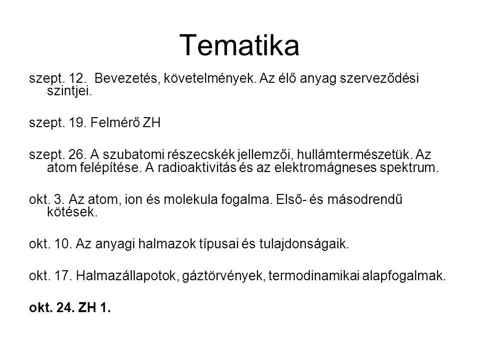 Tematika szept. 12. Bevezetés, követelmények. Az élő anyag szerveződési szintjei. szept. 19. Felmérő ZH szept. 26. A szubatomi részecskék jellemzői, h