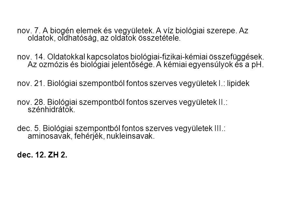 nov. 7. A biogén elemek és vegyületek. A víz biológiai szerepe. Az oldatok, oldhatóság, az oldatok összetétele. nov. 14. Oldatokkal kapcsolatos biológ