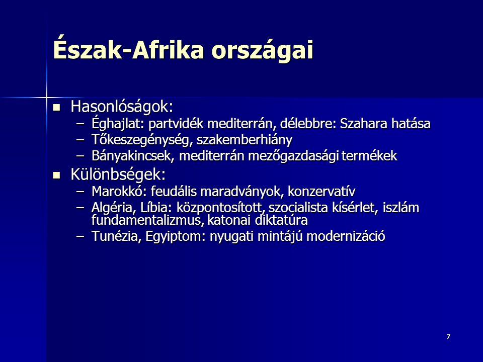 77 Észak-Afrika országai Hasonlóságok: Hasonlóságok: –Éghajlat: partvidék mediterrán, délebbre: Szahara hatása –Tőkeszegénység, szakemberhiány –Bányak