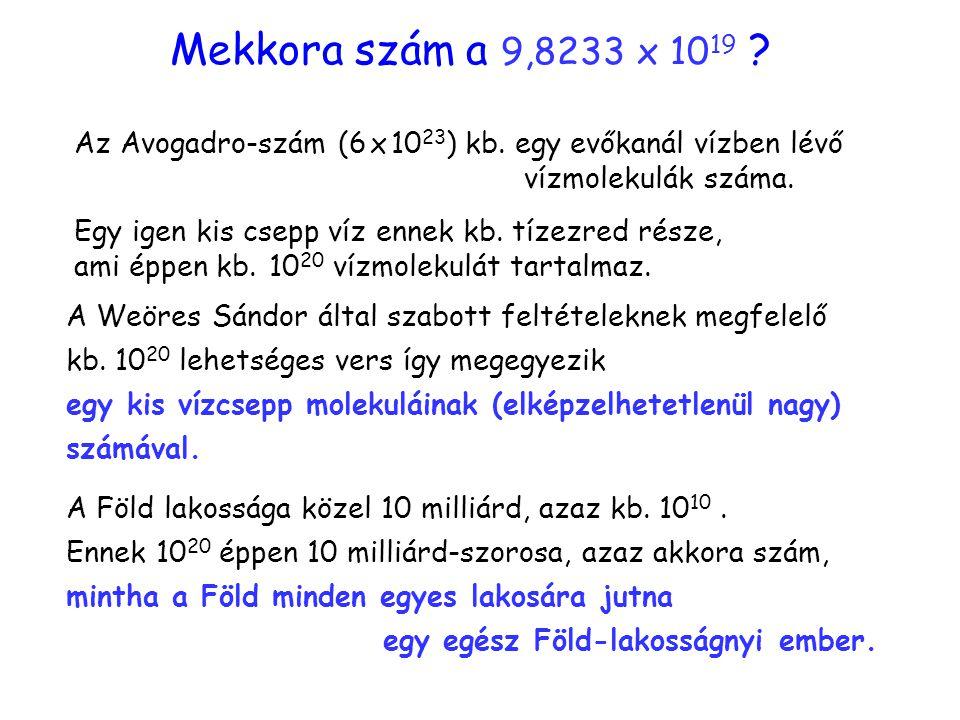 Szám szemléltetése Mekkora szám a 9,8233 x 10 19 ? Az Avogadro-szám (6 x 10 23 ) kb. egy evőkanál vízben lévő vízmolekulák száma. Egy igen kis csepp v
