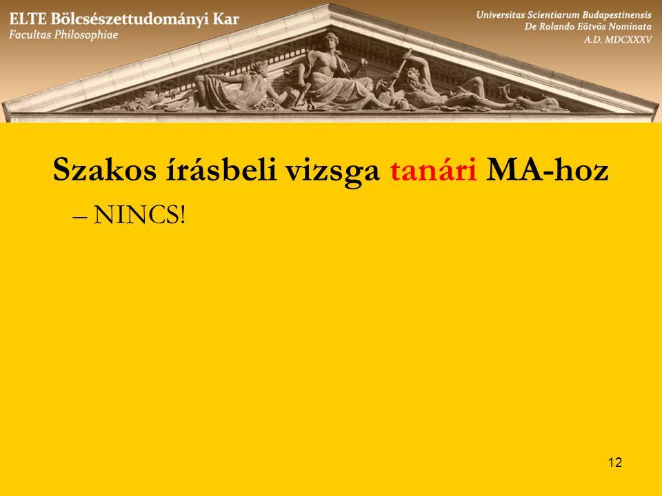 12 Szakos írásbeli vizsga tanári MA-hoz –NINCS!
