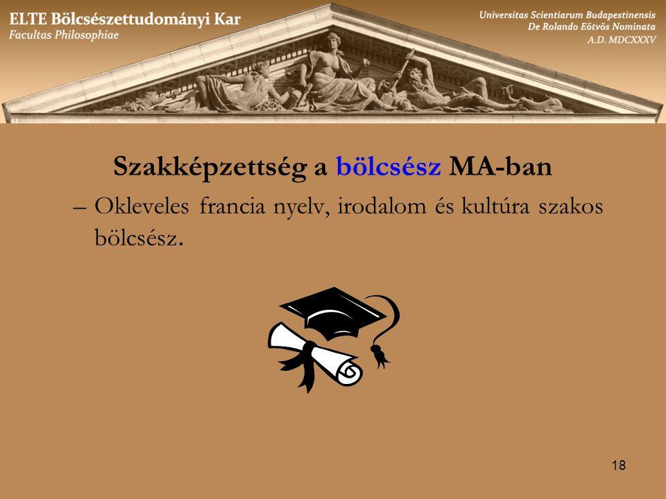 18 Szakképzettség a bölcsész MA-ban –Okleveles francia nyelv, irodalom és kultúra szakos bölcsész.