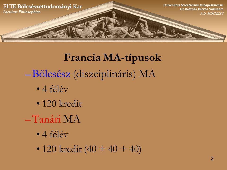 2 Francia MA-típusok –Bölcsész (diszciplináris) MA 4 félév 120 kredit –Tanári MA 4 félév 120 kredit (40 + 40 + 40)