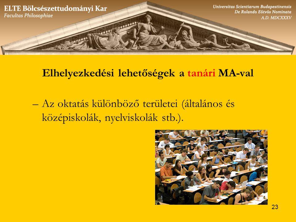 23 Elhelyezkedési lehetőségek a tanári MA-val –Az oktatás különböző területei (általános és középiskolák, nyelviskolák stb.).