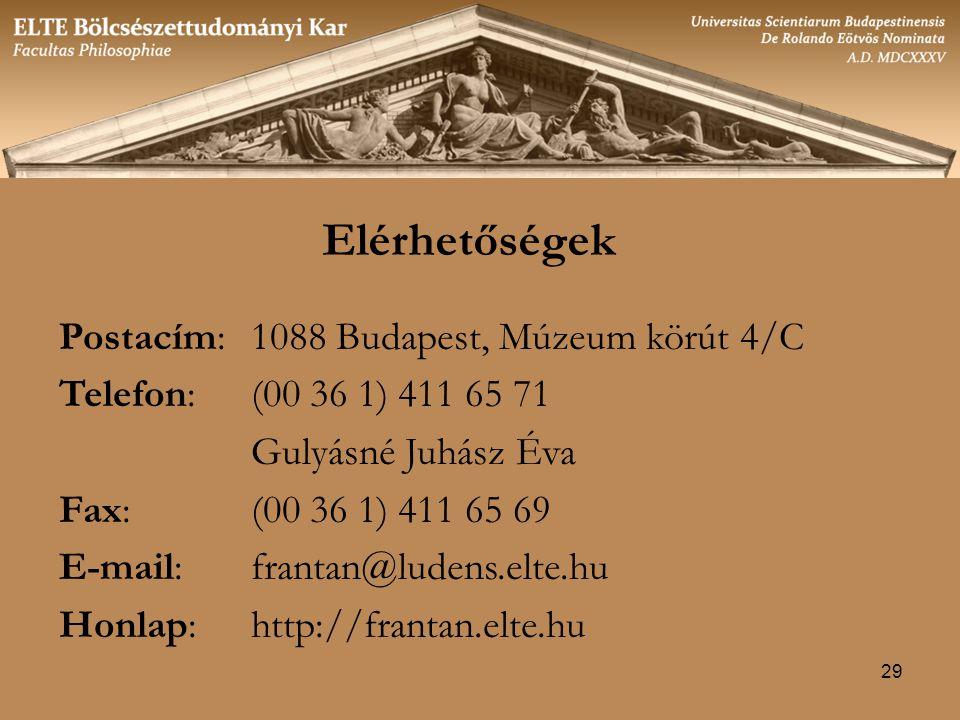 29 Elérhetőségek Postacím:1088 Budapest, Múzeum körút 4/C Telefon: (00 36 1) 411 65 71 Gulyásné Juhász Éva Fax: (00 36 1) 411 65 69 E-mail: frantan@ludens.elte.hu Honlap: http://frantan.elte.hu