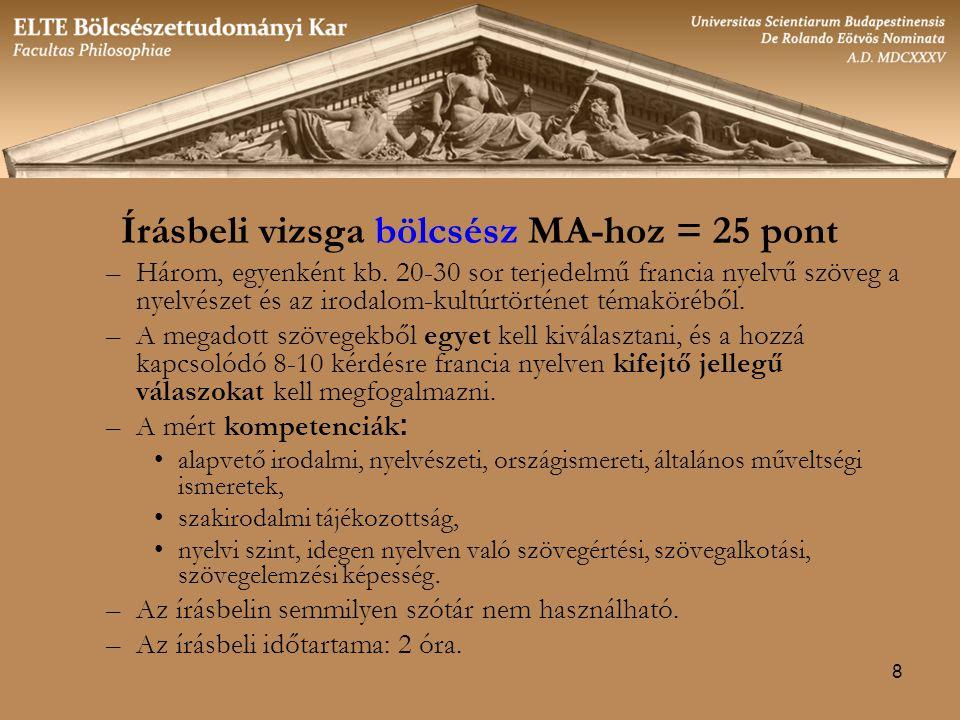 8 Írásbeli vizsga bölcsész MA-hoz = 25 pont –Három, egyenként kb.