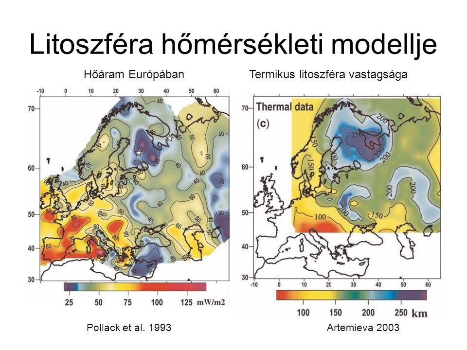 Litoszféra hőmérsékleti modellje Hőáram Európában Pollack et al. 1993Artemieva 2003 Termikus litoszféra vastagsága