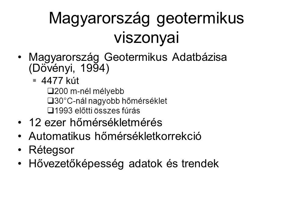 Magyarország geotermikus viszonyai Magyarország Geotermikus Adatbázisa (Dövényi, 1994)  4477 kút  200 m-nél mélyebb  30°C-nál nagyobb hőmérséklet 