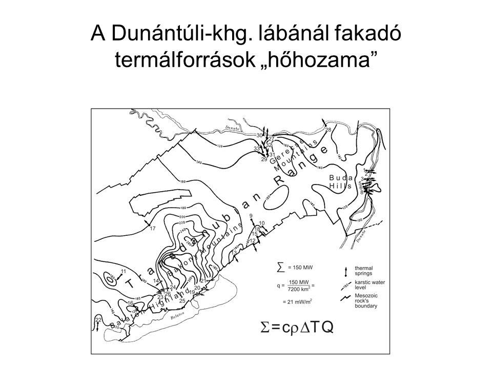 """A Dunántúli-khg. lábánál fakadó termálforrások """"hőhozama"""""""