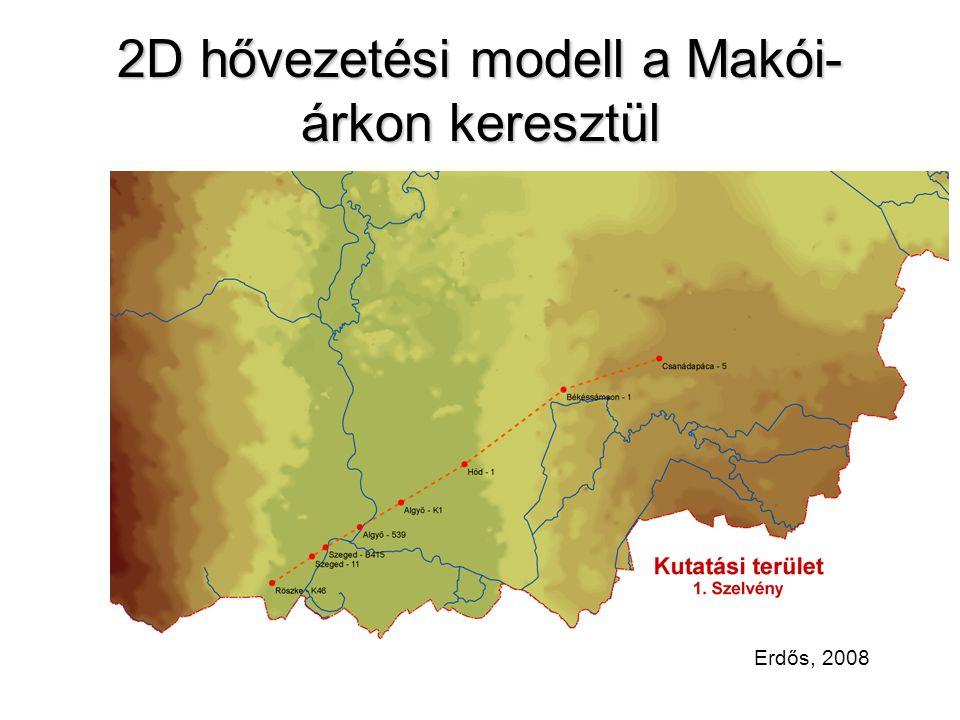 2D hővezetési modell a Makói- árkon keresztül Erdős, 2008