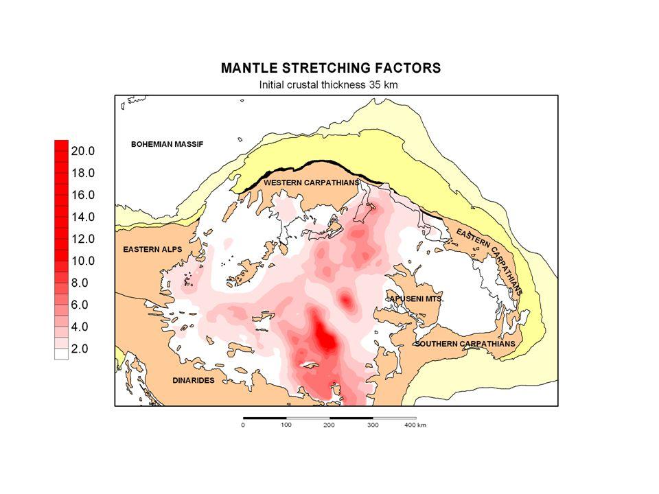 Kezdeti kéregvastagság (km) Átlagos kéregmegnyúlási faktorok Átlagos köpenylitoszféra megnyúlási faktorok 351.63.1 401.82.7 452.02.4 változó (36-75)2.0 351.4 /jelenl.