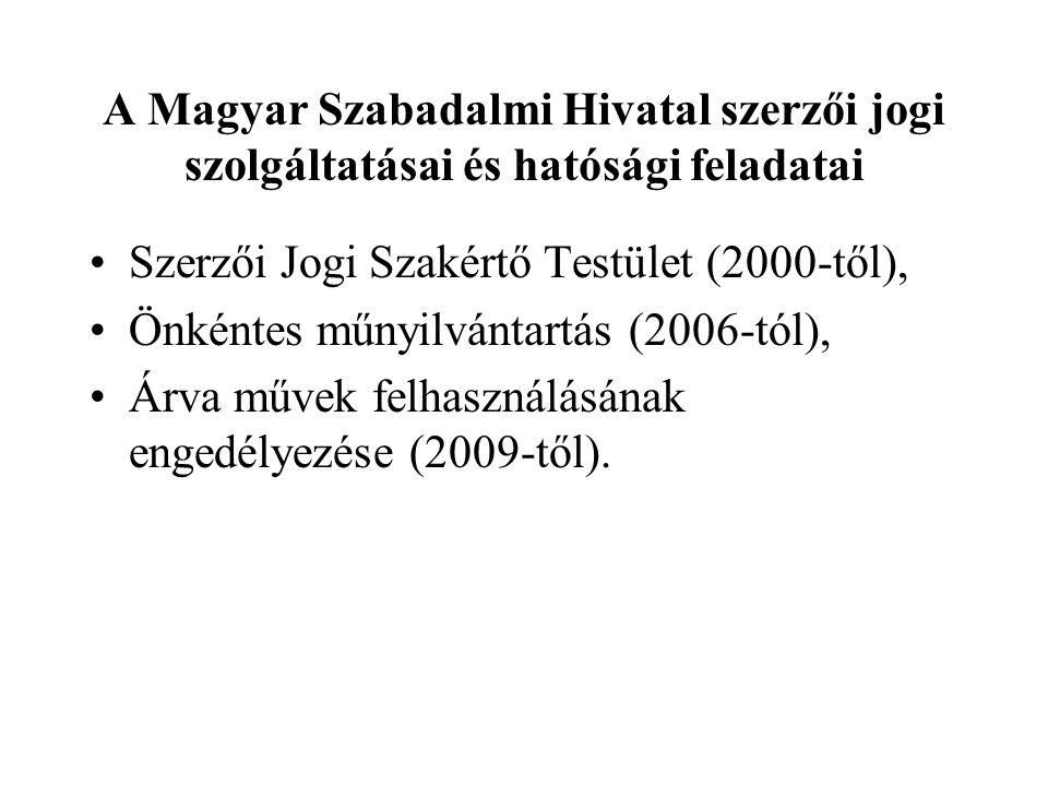 A Magyar Szabadalmi Hivatal szerzői jogi szolgáltatásai és hatósági feladatai Szerzői Jogi Szakértő Testület (2000-től), Önkéntes műnyilvántartás (200