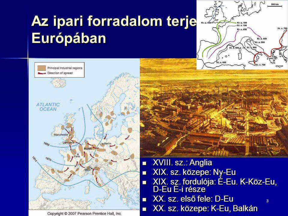 3 Az ipari forradalom terjedése Európában XVIII. sz.: Anglia XVIII. sz.: Anglia XIX. sz. közepe: Ny-Eu XIX. sz. közepe: Ny-Eu XIX. sz. fordulója: É-Eu