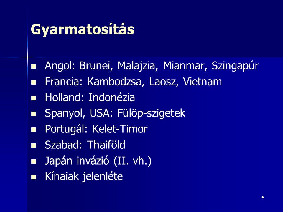 44 Gyarmatosítás Angol: Brunei, Malajzia, Mianmar, Szingapúr Francia: Kambodzsa, Laosz, Vietnam Holland: Indonézia Spanyol, USA: Fülöp-szigetek Portug