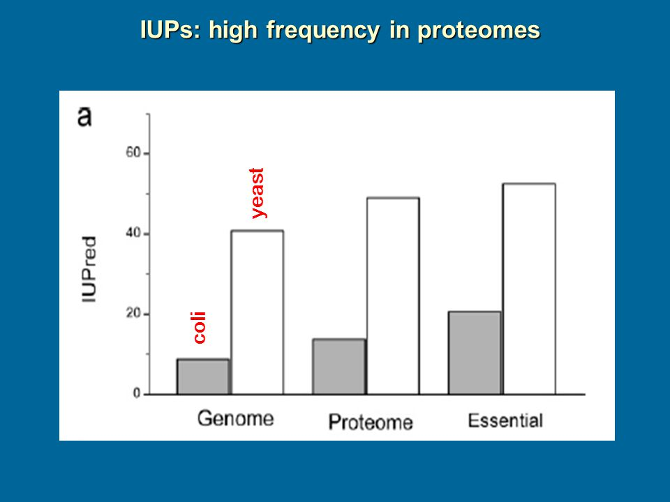 IUPs: high frequency in proteomes coli yeast