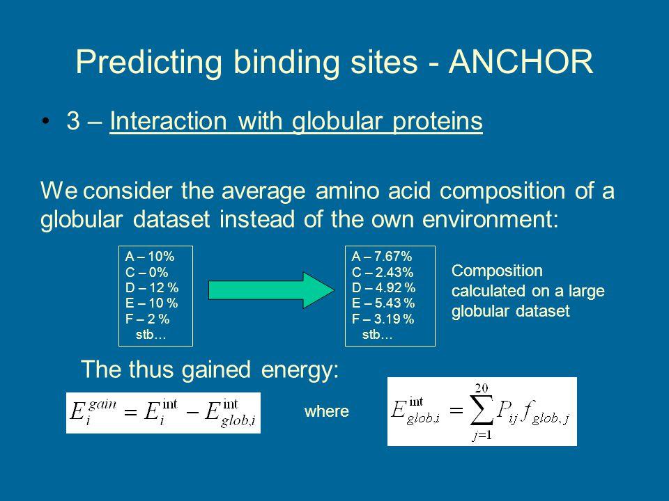 Predicting binding sites - ANCHOR Example: N terminal p53 Contains three binding sites: –MDM2: 17-27 –RPA70N: 33-56 –RNAPII: 45-58 P = p1*S average + p2*E int + p3*E gain