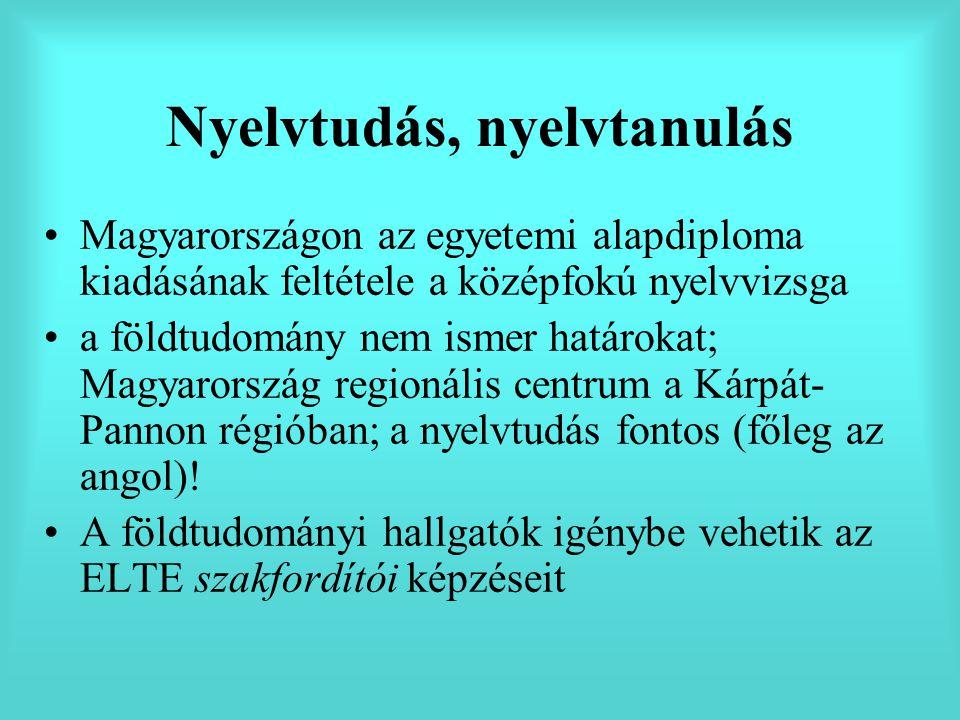 Nyelvtudás, nyelvtanulás Magyarországon az egyetemi alapdiploma kiadásának feltétele a középfokú nyelvvizsga a földtudomány nem ismer határokat; Magyarország regionális centrum a Kárpát- Pannon régióban; a nyelvtudás fontos (főleg az angol).