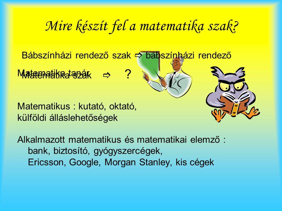 Mire készít fel a matematika szak? Alkalmazott matematikus és matematikai elemző : bank, biztosító, gyógyszercégek, Ericsson, Google, Morgan Stanley,