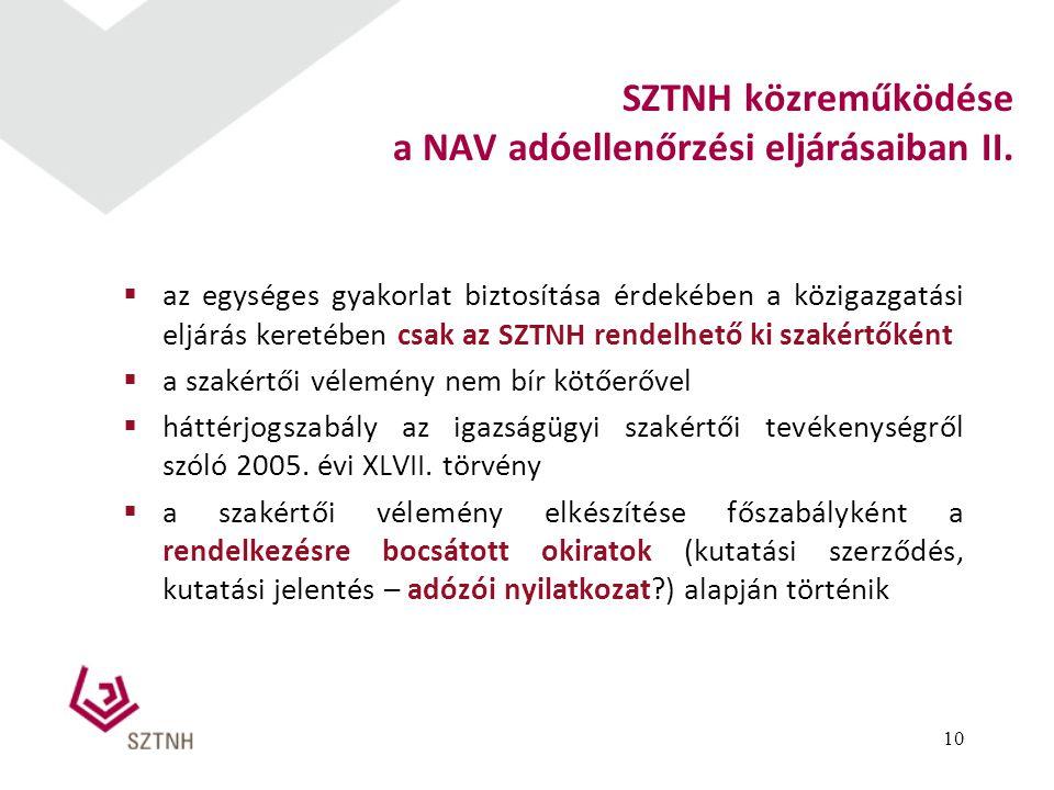  az egységes gyakorlat biztosítása érdekében a közigazgatási eljárás keretében csak az SZTNH rendelhető ki szakértőként  a szakértői vélemény nem bí