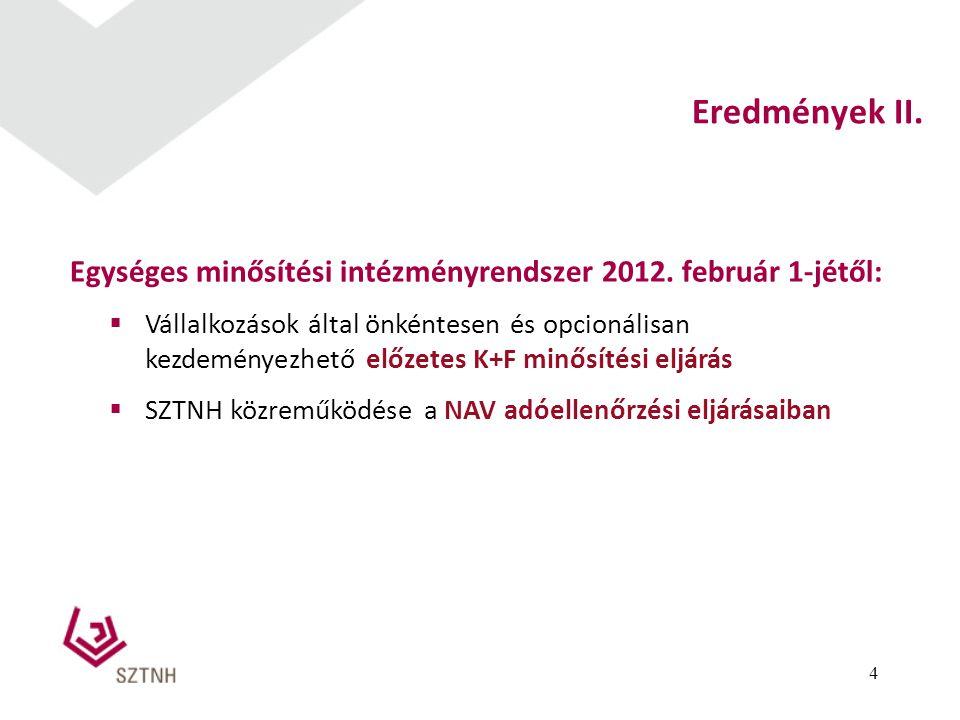 4 Eredmények II. Egységes minősítési intézményrendszer 2012. február 1-jétől:  Vállalkozások által önkéntesen és opcionálisan kezdeményezhető előzete