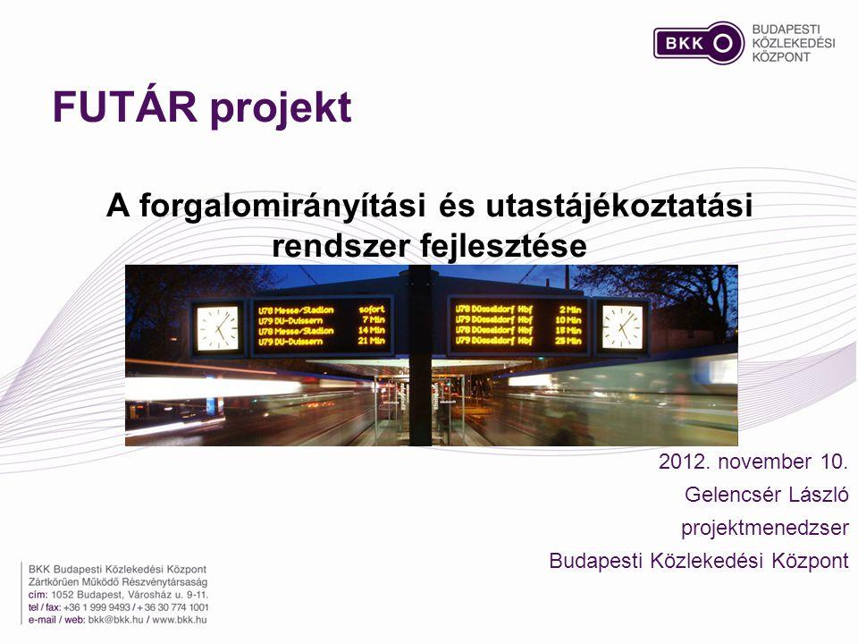 FUTÁR projekt A forgalomirányítási és utastájékoztatási rendszer fejlesztése 2012.