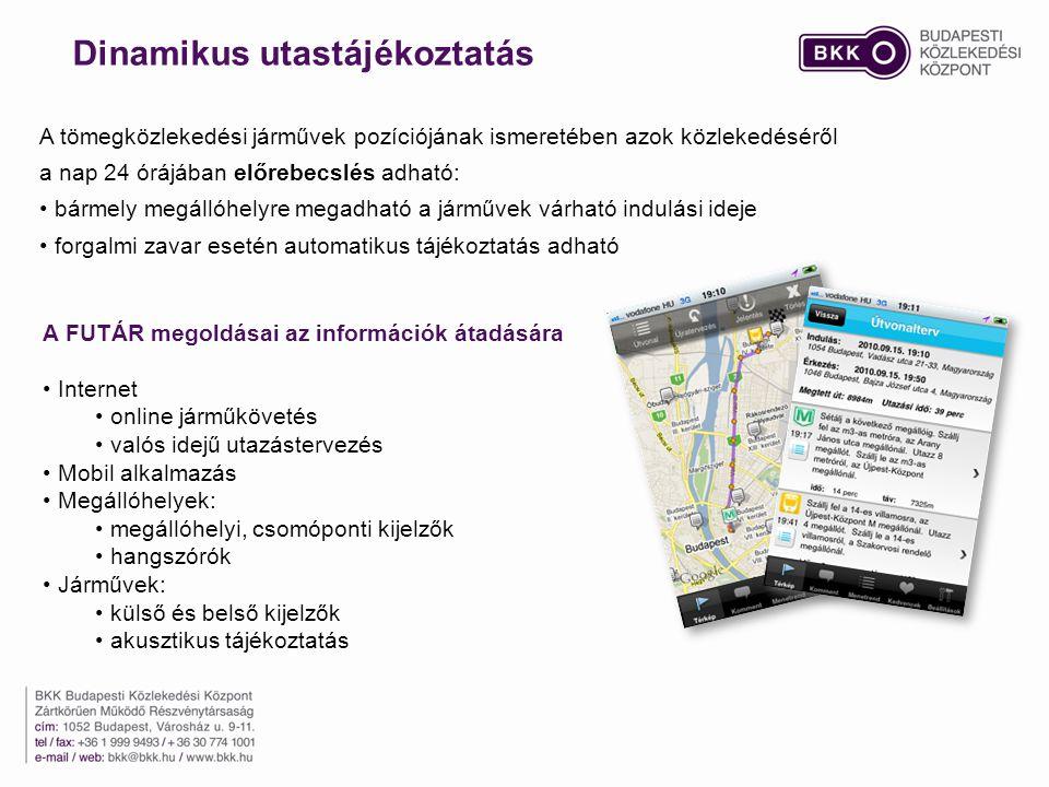 Internet online járműkövetés valós idejű utazástervezés Mobil alkalmazás Megállóhelyek: megállóhelyi, csomóponti kijelzők hangszórók Járművek: külső és belső kijelzők akusztikus tájékoztatás A tömegközlekedési járművek pozíciójának ismeretében azok közlekedéséről a nap 24 órájában előrebecslés adható: bármely megállóhelyre megadható a járművek várható indulási ideje forgalmi zavar esetén automatikus tájékoztatás adható A FUTÁR megoldásai az információk átadására Dinamikus utastájékoztatás