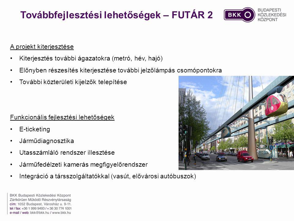 Továbbfejlesztési lehetőségek – FUTÁR 2 A projekt kiterjesztése Kiterjesztés további ágazatokra (metró, hév, hajó) Előnyben részesítés kiterjesztése további jelzőlámpás csomópontokra További közterületi kijelzők telepítése Funkcionális fejlesztési lehetőségek E-ticketing Járműdiagnosztika Utasszámláló rendszer illesztése Járműfedélzeti kamerás megfigyelőrendszer Integráció a társszolgáltatókkal (vasút, elővárosi autóbuszok)