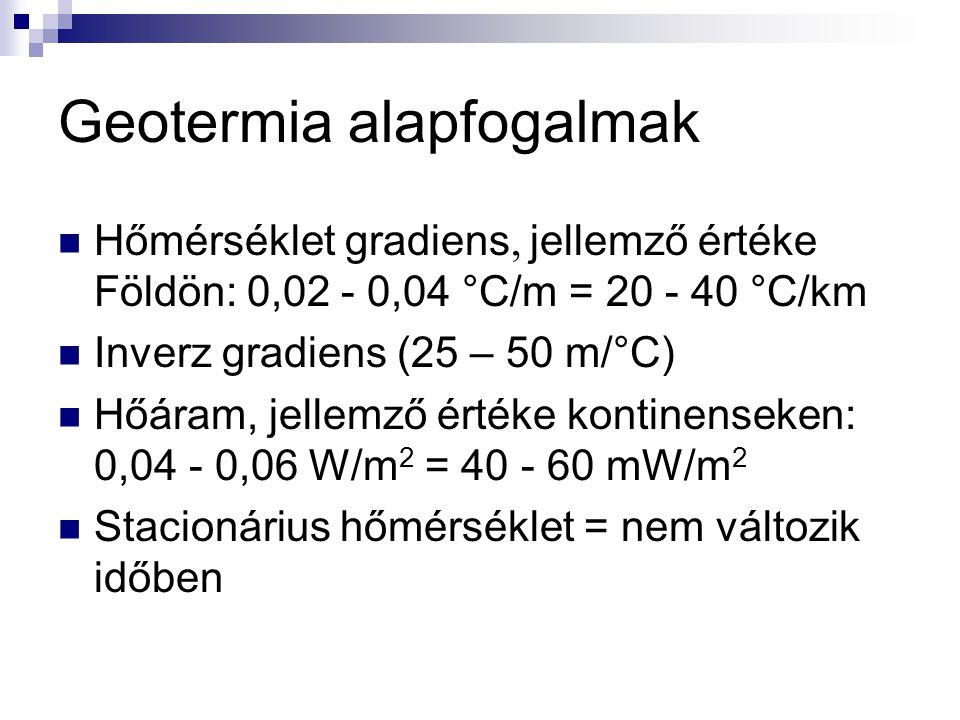 Geotermia alapfogalmak Hőmérséklet gradiens  jellemző értéke Földön:  0,02 - 0,04 °C/m = 20 - 40 °C/km Inverz gradiens (25 – 50 m/°C) Hőáram, jellemző értéke kontinenseken: 0,04 - 0,06 W/m 2 = 40 - 60 mW/m 2 Stacionárius hőmérséklet = nem változik időben