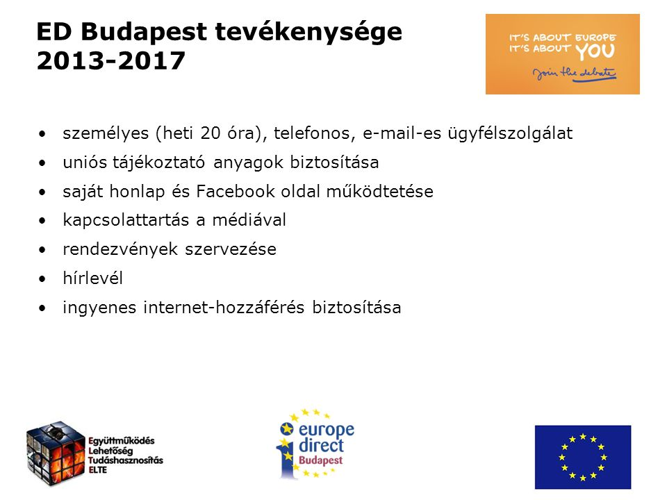 ED Budapest tevékenysége 2013-2017 személyes (heti 20 óra), telefonos, e-mail-es ügyfélszolgálat uniós tájékoztató anyagok biztosítása saját honlap és