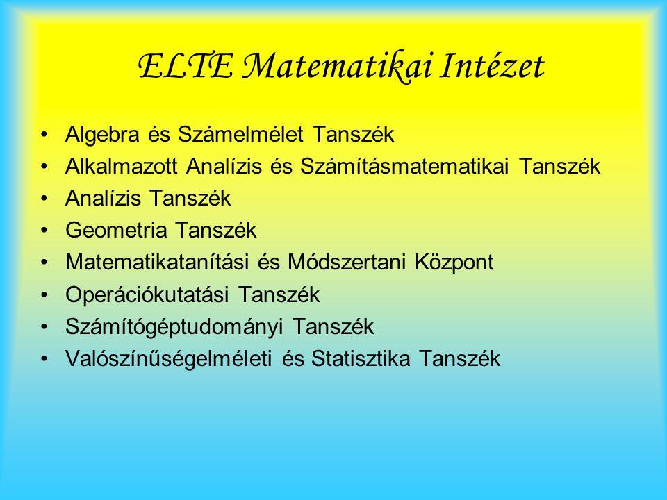 ELTE Matematikai Intézet Algebra és Számelmélet Tanszék Alkalmazott Analízis és Számításmatematikai Tanszék Analízis Tanszék Geometria Tanszék Matematikatanítási és Módszertani Központ Operációkutatási Tanszék Számítógéptudományi Tanszék Valószínűségelméleti és Statisztika Tanszék