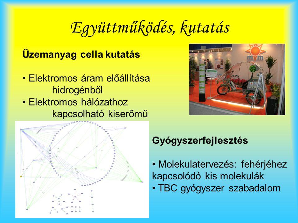 Együttműködés, kutatás Üzemanyag cella kutatás Elektromos áram előállítása hidrogénből Elektromos hálózathoz kapcsolható kiserőmű Gyógyszerfejlesztés