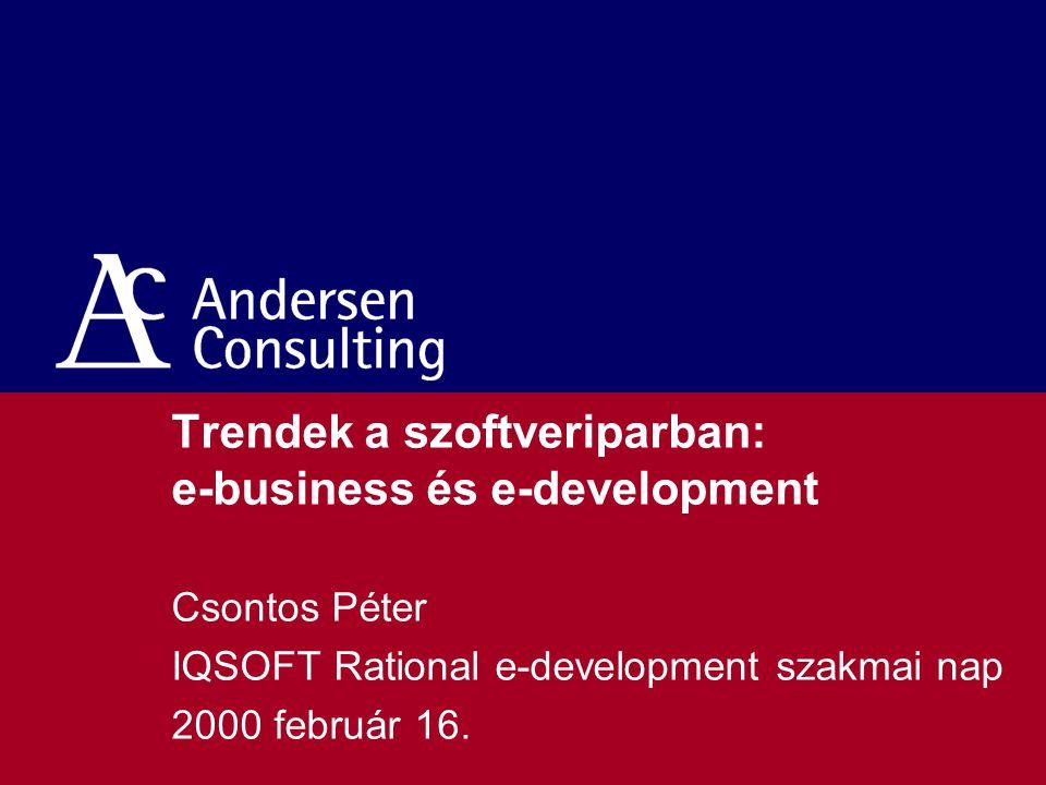 Trendek a szoftveriparban: e-business és e-development Csontos Péter IQSOFT Rational e-development szakmai nap 2000 február 16.