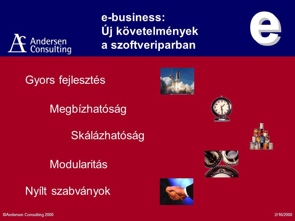 2/16/2000©Andersen Consulting 2000 Elektronikus kereskedelem Európában 0 50 100 150 200 250 300 350 400 450 500 19961998200020022004 Év Milliárd USD IDC eMarketer Összes e-commerce bevétel IDC 0.0 10.0 20.0 30.0 40.0 50.0 60.0 199419961998200020022004 Év Millió fő IDC Interneten vásárlók száma