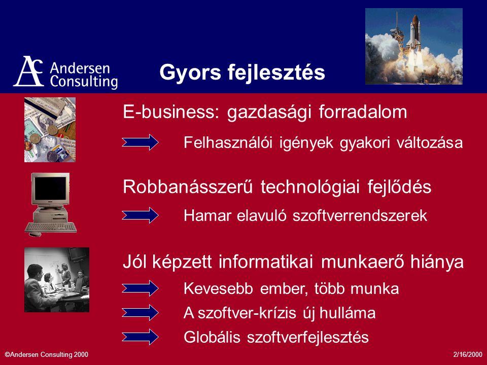 2/16/2000©Andersen Consulting 2000 e-business: Új követelmények a szoftveriparban Modularitás Skálázhatóság Megbízhatóság Gyors fejlesztés Nyílt szabványok e e