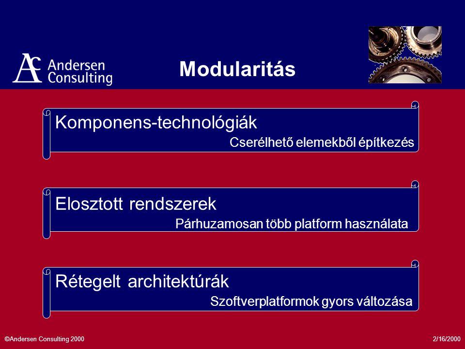 2/16/2000©Andersen Consulting 2000 Rétegelt architektúrák Elosztott rendszerek Komponens-technológiák Modularitás Szoftverplatformok gyors változása Párhuzamosan több platform használata Cserélhető elemekből építkezés