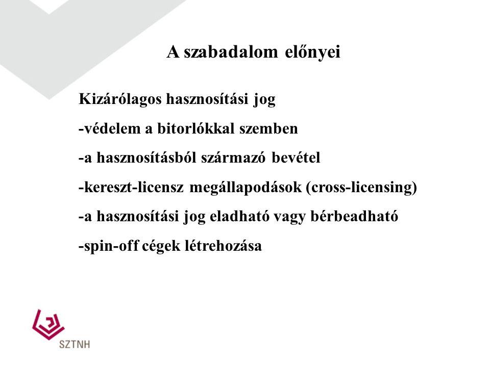 A szabadalom előnyei Kizárólagos hasznosítási jog -védelem a bitorlókkal szemben -a hasznosításból származó bevétel -kereszt-licensz megállapodások (c
