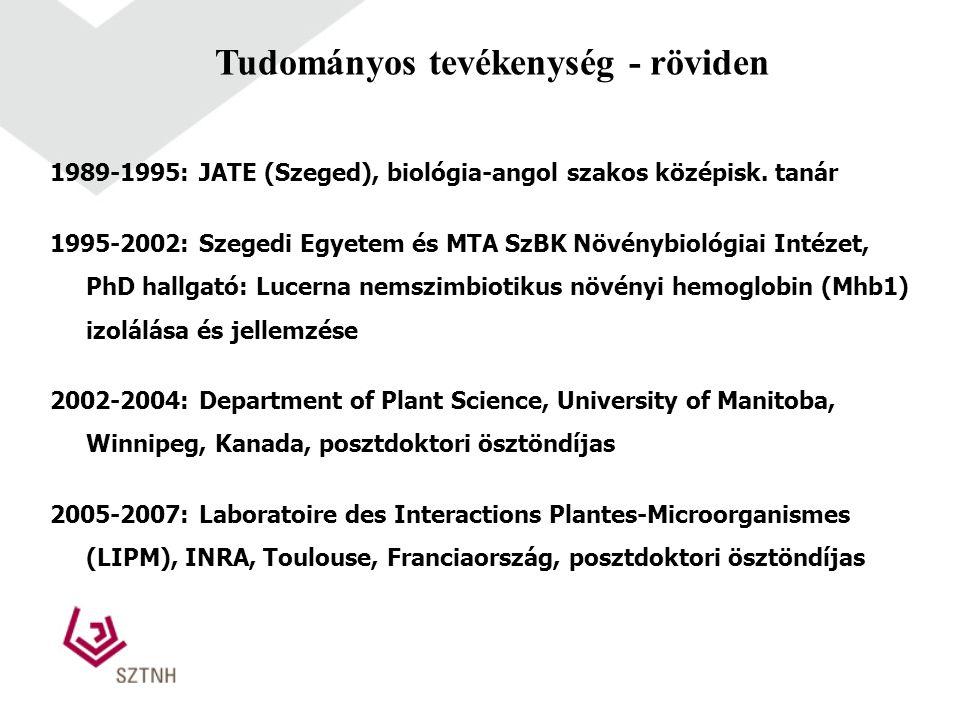 1989-1995: JATE (Szeged), biológia-angol szakos középisk. tanár 1995-2002: Szegedi Egyetem és MTA SzBK Növénybiológiai Intézet, PhD hallgató: Lucerna