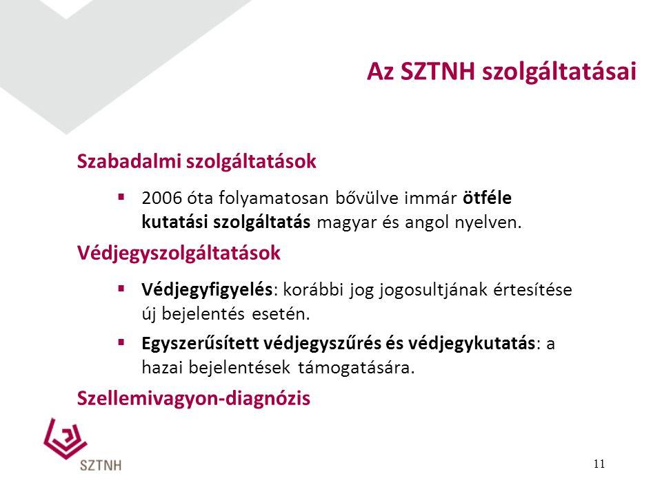 Szabadalmi szolgáltatások  2006 óta folyamatosan bővülve immár ötféle kutatási szolgáltatás magyar és angol nyelven. Védjegyszolgáltatások  Védjegyf