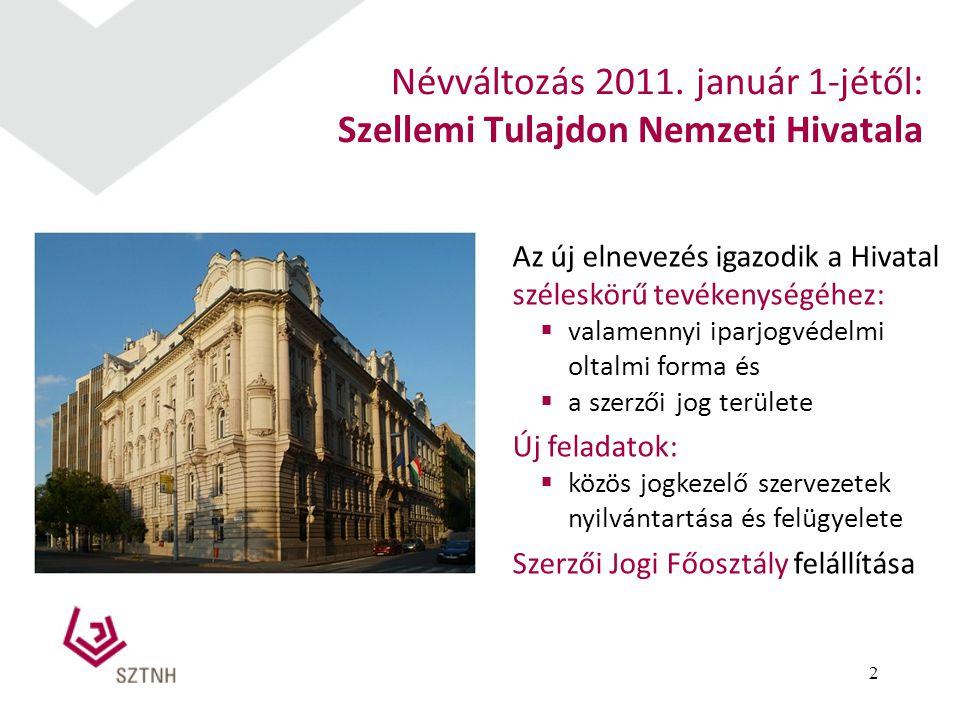 2 Névváltozás 2011. január 1-jétől: Szellemi Tulajdon Nemzeti Hivatala Az új elnevezés igazodik a Hivatal széleskörű tevékenységéhez:  valamennyi ipa