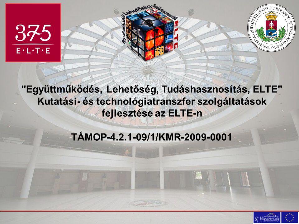 Együttműködés, Lehetőség, Tudáshasznosítás, ELTE Kutatási- és technológiatranszfer szolgáltatások fejlesztése az ELTE-n TÁMOP-4.2.1-09/1/KMR-2009-0001