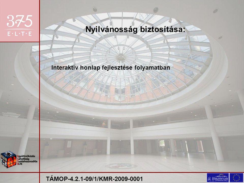 Interaktív honlap fejlesztése folyamatban Nyilvánosság biztosítása: TÁMOP-4.2.1-09/1/KMR-2009-0001