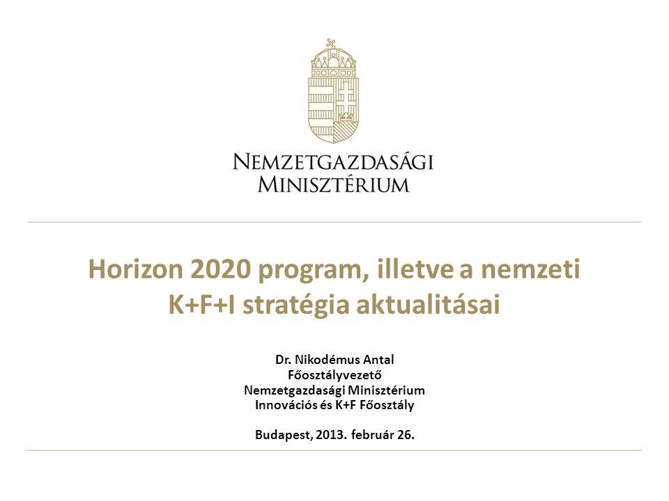 Horizon 2020 program, illetve a nemzeti K+F+I stratégia aktualitásai Dr. Nikodémus Antal Főosztályvezető Nemzetgazdasági Minisztérium Innovációs és K+